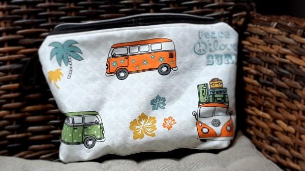 """Kosmetiktasche Unikat L Baumwolle """"Bulli Bus"""" ca. 30x 21 x 6 cm"""